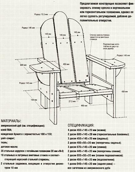 Раскладное кресло для веранды.
